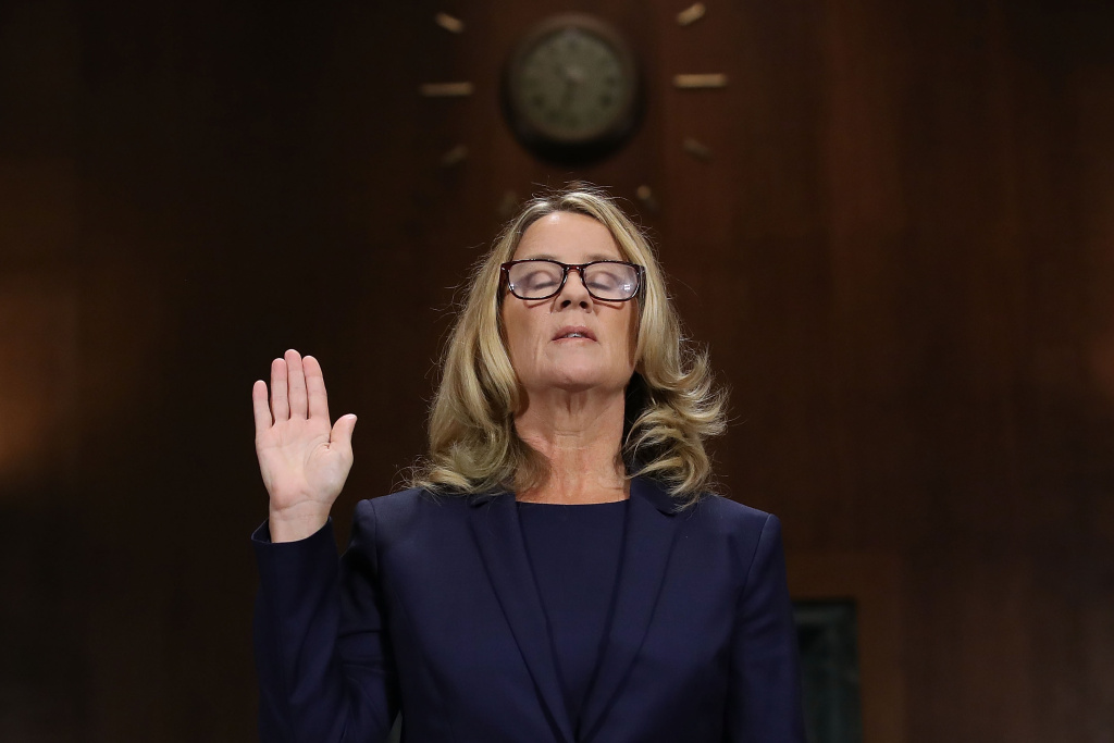 WASHINGTON, DC - SEPTEMBER 27:  Christine Blasey Ford is sworn in before testifying the Senate Judiciary Committee on September 27, 2018.
