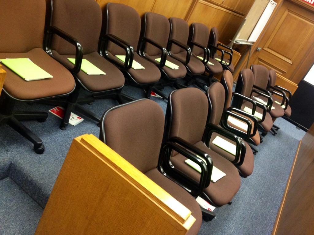 File: A jury box.