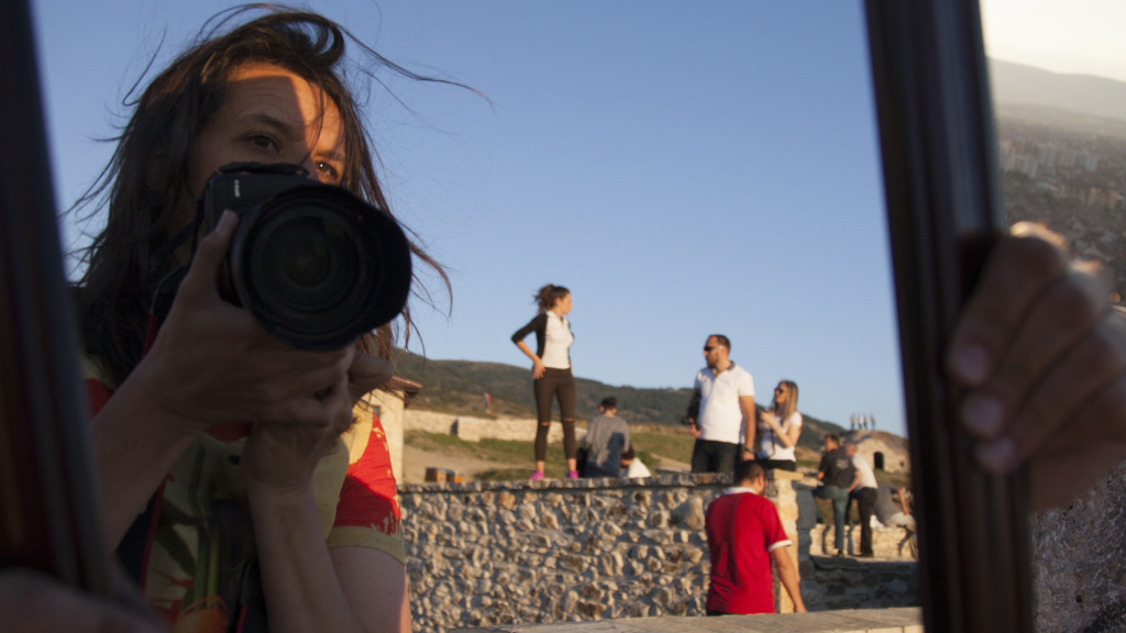 Cinematographer Kirsten Johnson at a shoot.