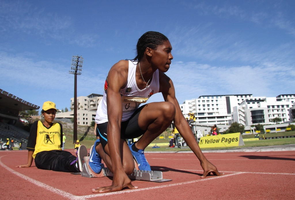 Caster Semenya of South Africa prepares before the start of the women's 400m during the Yellow Pages Interprovincial final.