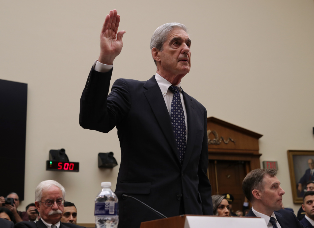 Former Special Counsel Robert Mueller is sworn in before testifying to the House Judiciary Committee about his report on Russian interference in the 2016 presidential election in the Rayburn House Office Building July 24, 2019 in Washington, DC
