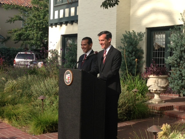 Mayor-elect Eric Garcetti stands with Mayor Antonio Villaraigosa outside the mayor's official residence, Getty House, shortly after his election. The LA Weekly reports Garcetti spent $453,000 in taxpayer money to renovate the official mayoral mansion after Villaraigosa left office.