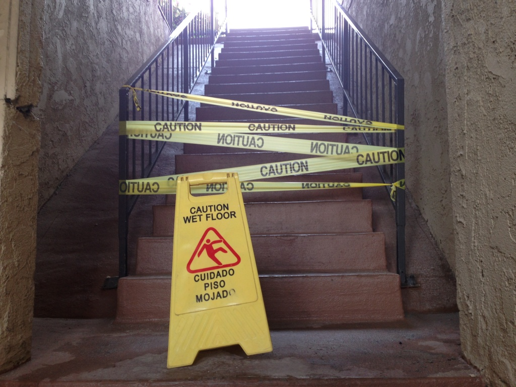 A stairwell at a Fullerton apartment building that was red-tagged after a 5.1 earthquake Friday, March 28, 2014. Following the quake, a letter was sent around claiming the area is due for a larger quake. The USGS says the letter is a hoax.