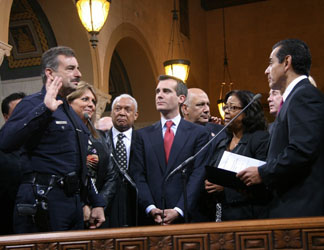 Charlie Beck is sworn in as the 55th chief of the Los Angeles Police Department on Tuesday, Nov. 17, 2009.