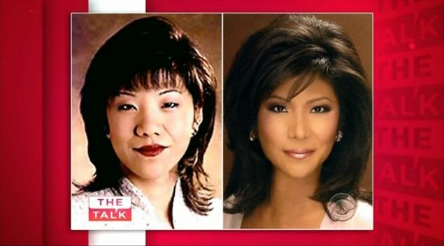 Before and after photos of The Talk's Julie Chen.  The broadcaster said she sought eyelid surgery to advance her career.