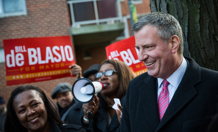 NYC Mayoral Candidate Bill De Blasio Campaigns One Day Before Election