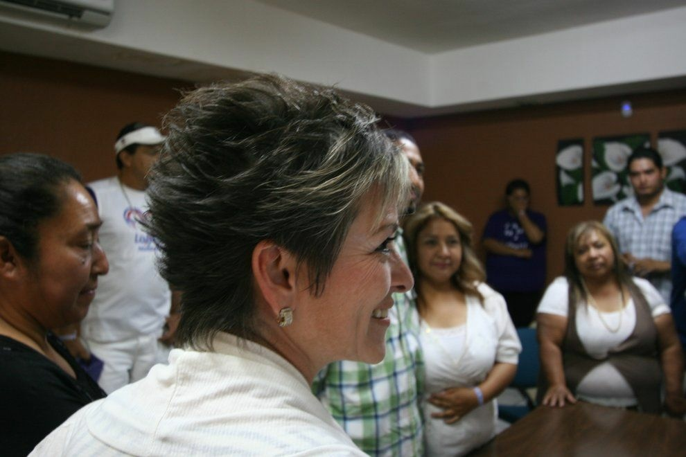 Lolita Montaño bears witness during a civil marriage ceremony in Agua Prieta