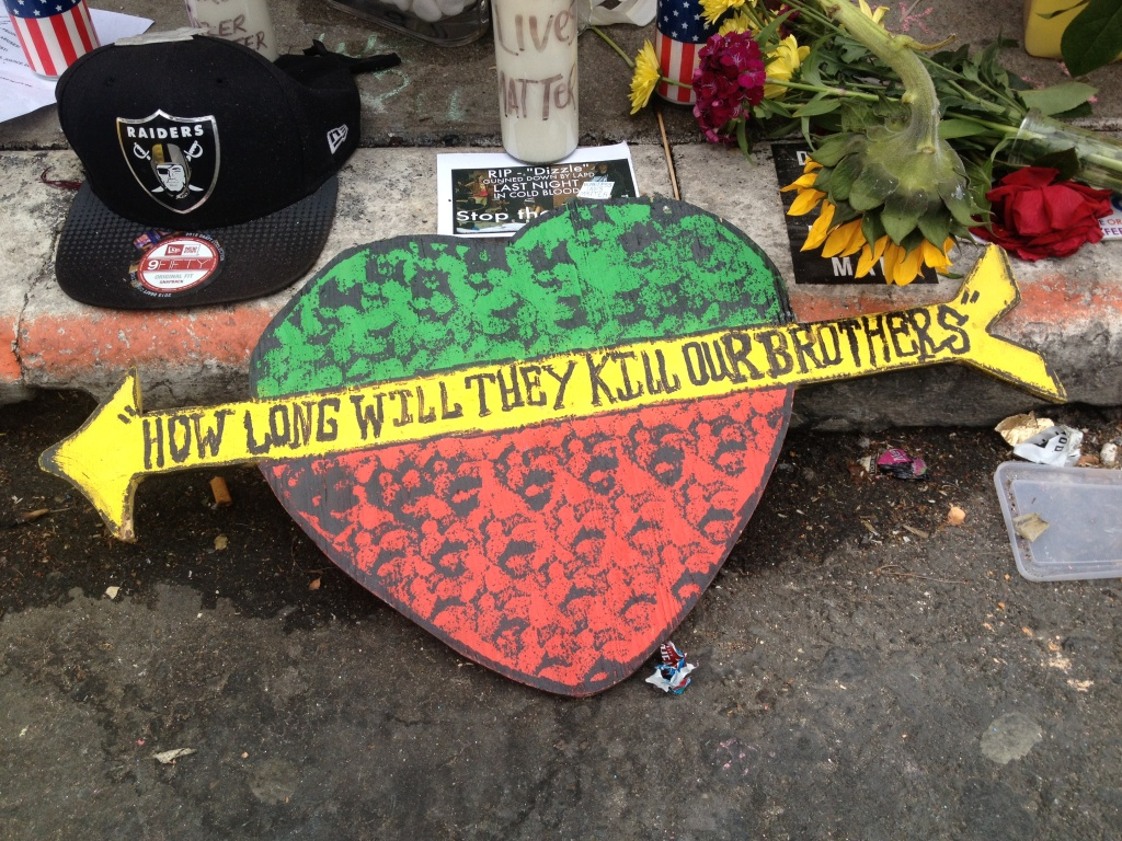 A memorial for Brendon Glenn, fatally shot by an LAPD officer in Venice on May 5, 2015. The California state Senate on Thursday, May 7, 2015, advanced legislation to end the use of grand juries to investigate police shootings or cases of alleged excessive force by police. Several Republicans say opponents should not react to current events by changing a process that has long been useful.