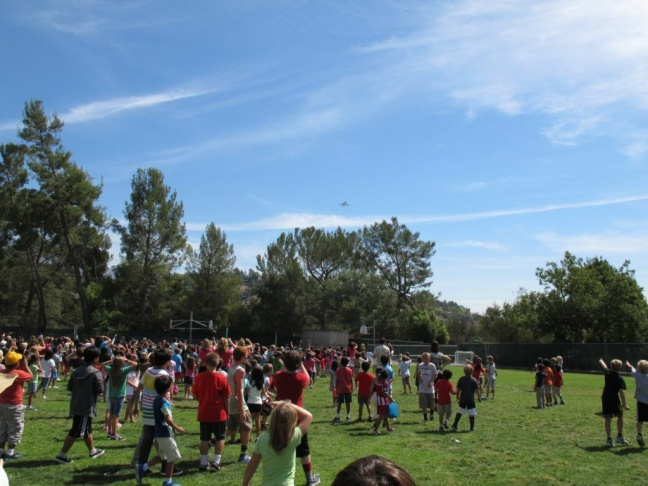 Endeavour over Paradise Canyon Elementary school