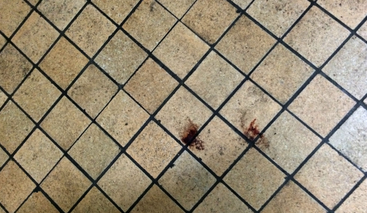 What appears to be blood on a sink inside a bathroom in Inglewood High's gym.