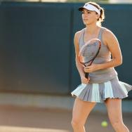 Tennis player Yaroslava Shvedova on the court donned in Fila's Net Set Collection