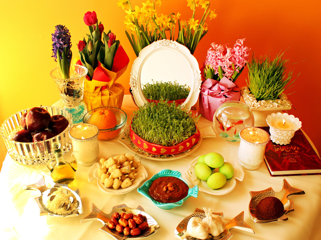 In every home, the haftseen table is decorated with seven items since seven is considered a lucky number.