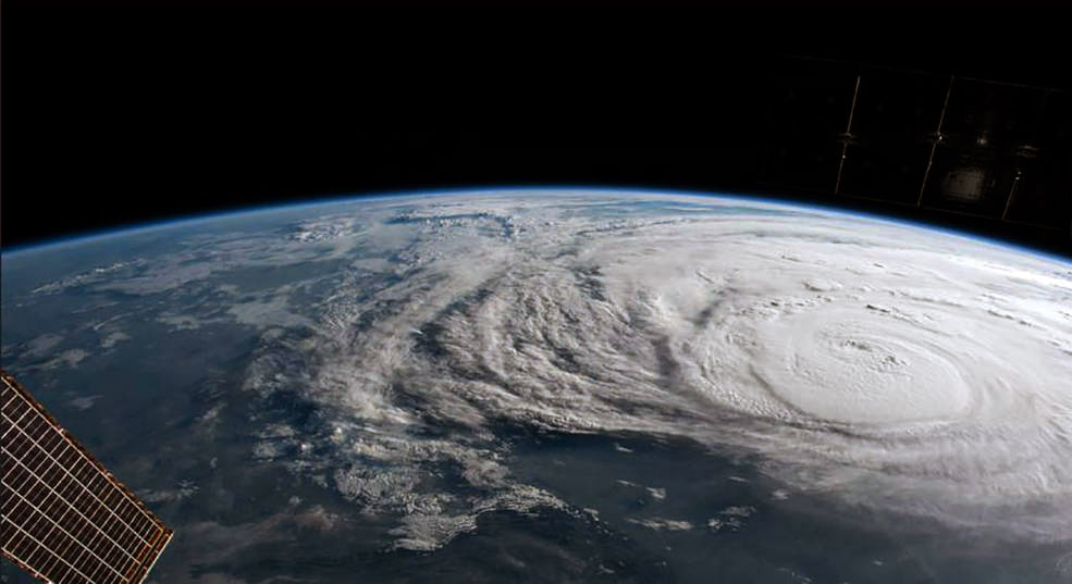 In this NASA handout image, Hurricane Harvey is photographed from the International Space Station on August 25, 2017.