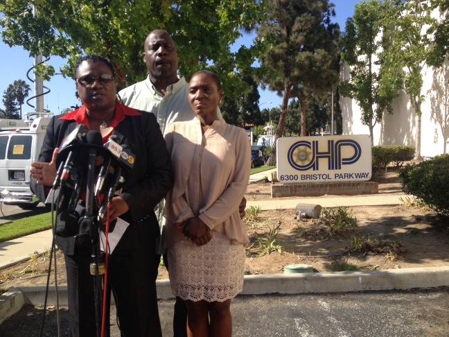 Attorney Caree Harper, Pinnock's daughter Maisha Allums and her husband, who asked not to be named, on Tuesday, July 8, 2014.