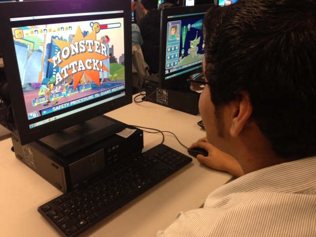 An 11th grader plays Graduate Strike Force at Foshay Learning Center in Los Angeles.