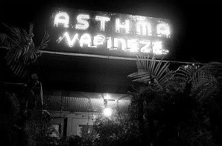 Asthma Vapineze sign lit up.