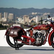An Indian motorcycle once owned by Steve McQueen is part of the new Harley v. Indian exhibit at the Petersen Automotive Museum.