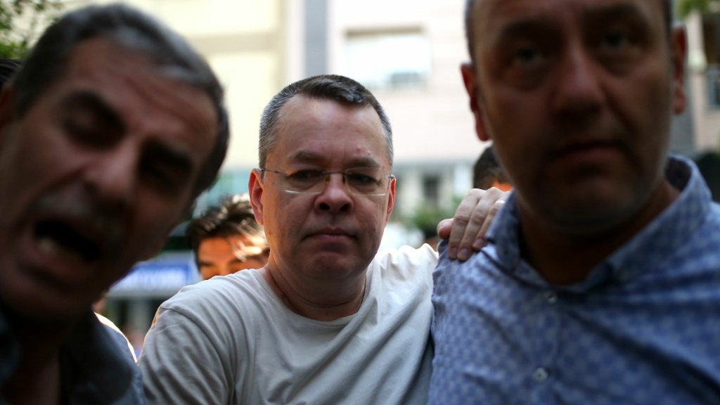 Andrew Craig Brunson, seen flanked by two Turkish police officers in plainclothes in Izmir last week.