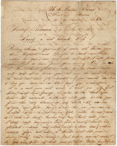 A letter written by Stamer Chino at Fortress Monroe in Virginia on April 9, 1865