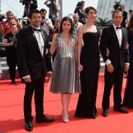 "(L-R) Actors Kamel Abdeli, Heloise Godet, Zoe Bruneau, Richard Chevallier, Jessica Erickson and Christian Gregori attend the ""Goodbye To The Language"" Premiere at the 67th Annual Cannes Film Festival on May 21, 2014 in Cannes, France."