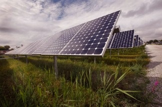 Solar photovoltaic panels generate electricity at an Exelon solar power facility.