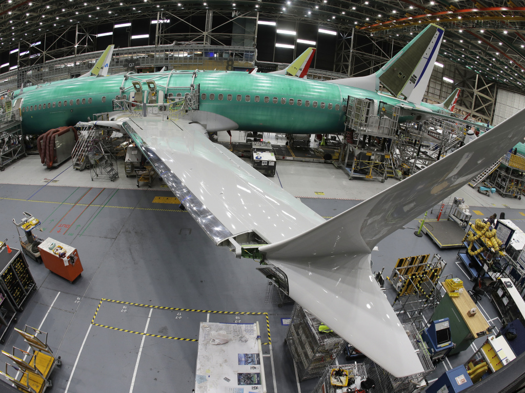 A Boeing 737 MAX 8 airplane sits on the assembly line at Boeing's 737 assembly facility in 2019.
