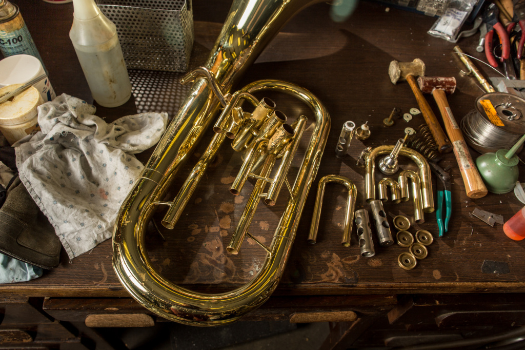 In this file photo, a baritone rests on a technician's table in Los Angeles Unified's music repair shop.