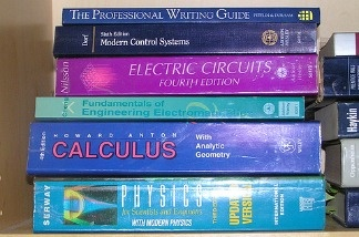 A pile of textbooks.