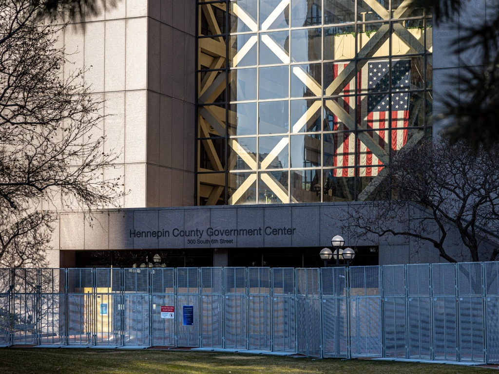 The Hennepin County Government Center is pictured on the third day of jury selection in the trial of former Minneapolis police officer Derek Chauvin on March 11. The prosecution and defense will make their opening arguments on Monday.