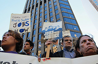Dozens of protestors demonstrated outside of Sen. Feinstein's office, on September 15, 2010, urging the senator to end the recession by creating jobs.