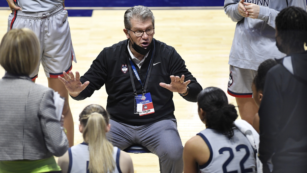 Connecticut head coach Geno Auriemma talks to his team during a game against Villanova in the Big East tournament on March 7, 2021. Auriemma has tested positive for the coronavirus.