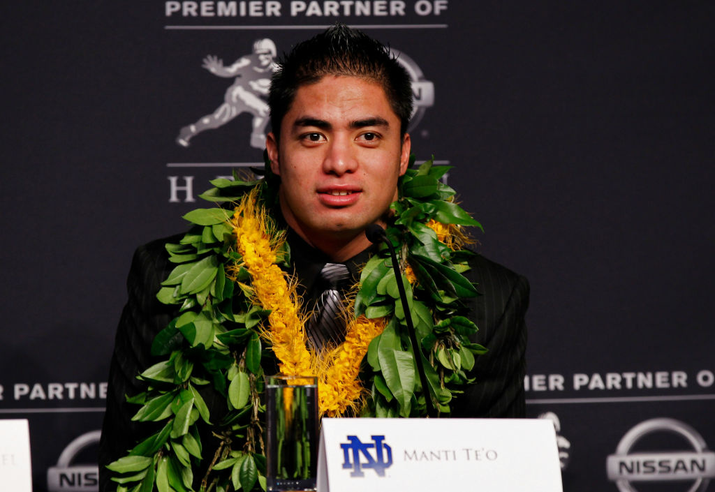 Heisman finalists linebacker Manti Te'o of the University of Notre Dame Fighting Irish speaks during a press conference prior to the 78th  Heisman Trophy Presentation at the Marriott Marquis on December 8, 2012 in New York City.