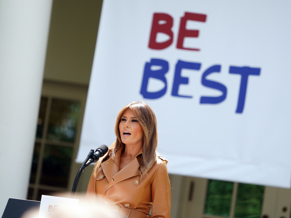 First lady Melania Trump speaks about her