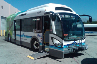 A new kind of electric bus hits the road today here in southern California. It will carry a full load of passengers over 30 miles, stop for ten minutes, and fully recharge its batteries.