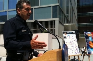 Los Angeles Police Chief Charlie Beck speaks to reporters about the Dodgers Stadium beating case on June 2, 2011.