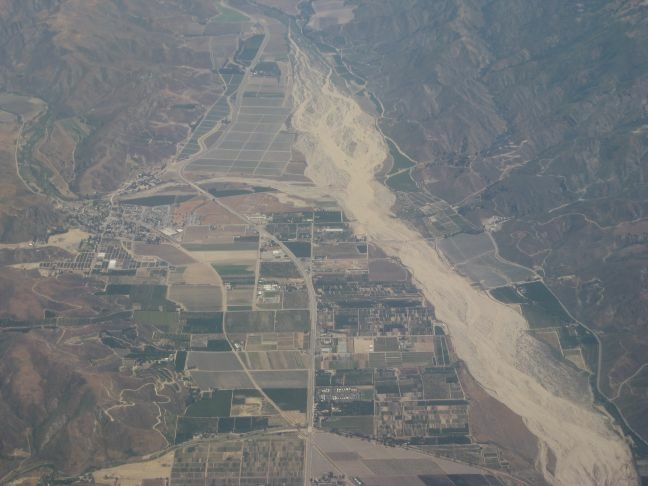 An aerial view of the Santa Clara River, which is the last major free-flowing river in Southern California. A six-mile stretch of the river is included in plans for the Newhall Ranch development.