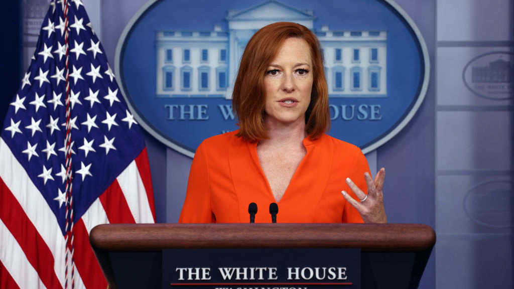 White House press secretary Jen Psaki holds a press briefing at the White House on Monday. Reporters asked about the administration's next steps on voting rights.