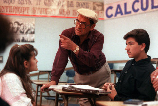 Jaime Escalante is seen here teaching math at Garfield High School, in California, March 16, 1988. Escalante is the teacher on which the character in the movie