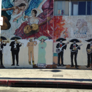 A mural along Boyle Avenue, just off Boyle Heights' Mariachi Plaza. The building it is on would have been torn down as part of a proposed development by the MTA, which has reconsidered.