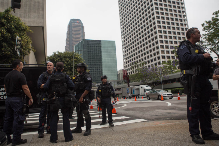 An LAPD Swat team conducts a mock battle with law enforcement officials posing as terrorists during a counter-terrorism demonstration in Downtown.