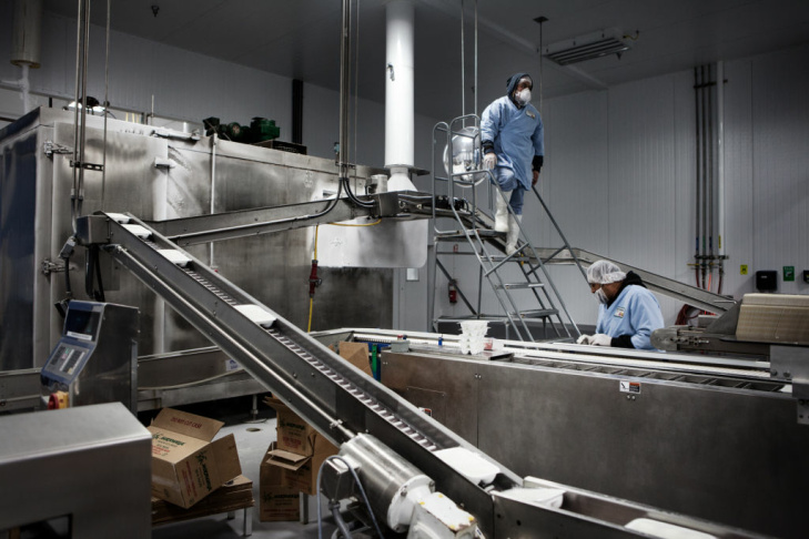 Employees at Mikawaya produce mochi ice cream, a ball of ice cream wrapped in a thin layer of sweet rice flour.