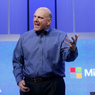 "Microsoft CEO Steve Ballmer in June at the Microsoft ""Build"" conference in San Francisco."