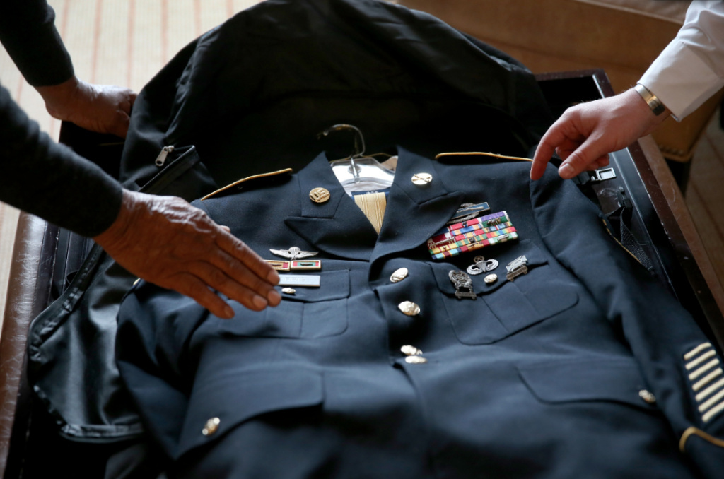 A uniform belonging to U.S. Army Staff Sergeant Melvin Morris, a Vietnam War veteran and one of the three surviving veterans out of 24 Latino and Jewish soldiers who will receive Medal of Honor on Tuesday, decades after their service.