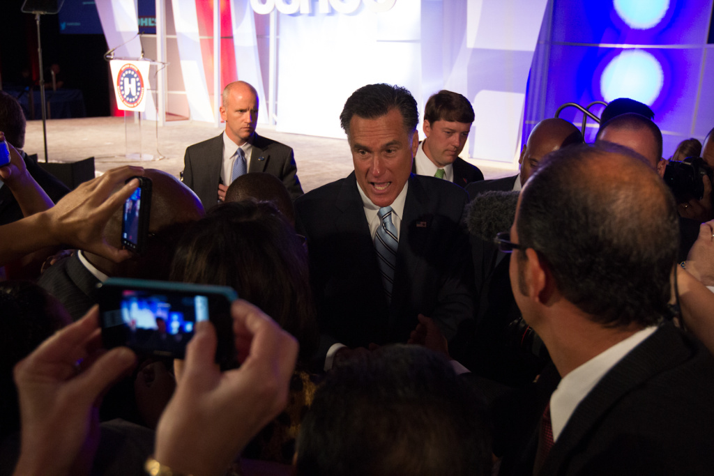 Republican Presidential Candidate Mitt Romney shakes attendees' hands after speaking at the United States Hispanic Chamber of Commerce's 33rd annual national convention at the JW Marriott Hotel in Los Angeles Calif., Monday, September 17, 2012. Romney addressed a large crowd of Hispanic business leaders and spoke on topics including healthcare, immigration, jobs, and education.