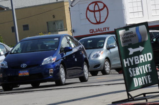 A Toyota Prius hybrid model car waits for customers at a Toyota dealer in Hollywood, California on March 10, 2010.