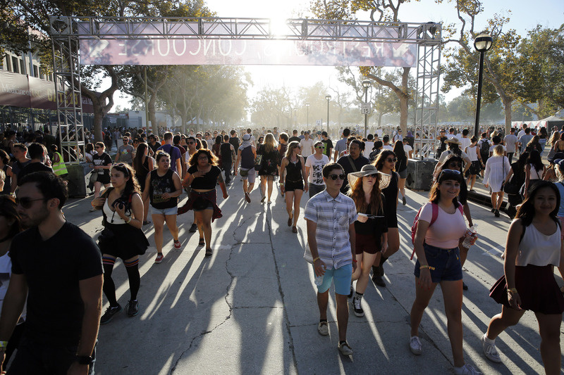 Concertgoers walk through the gates of FYF Fest 2014.