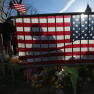 A makeshift memorial in Copley Square, near the site of one of the Boston Marathon bombings, on April 24.