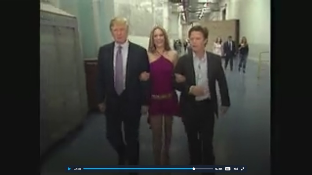 2005 Access Hollywood video in which Trump (L) and Billy Bush (R) are show having lewd conversation about women.