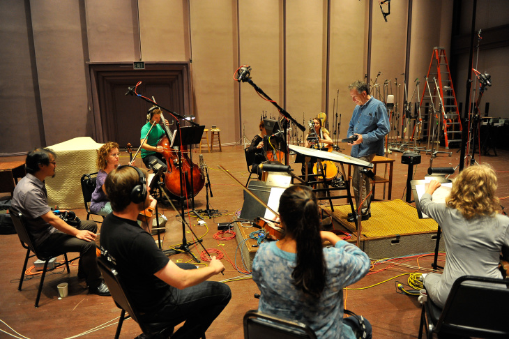 Composer Linda Oh in action in a studio at the Skywalker Ranch