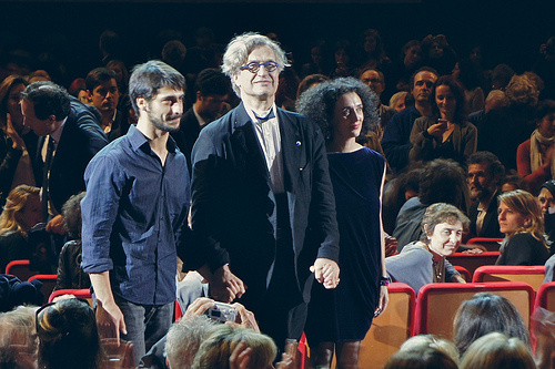 Wim Wenders with dancers Damiano Ottavio Bigi and Christiana Morganti at the Festa del Cinema in Roma in 2011